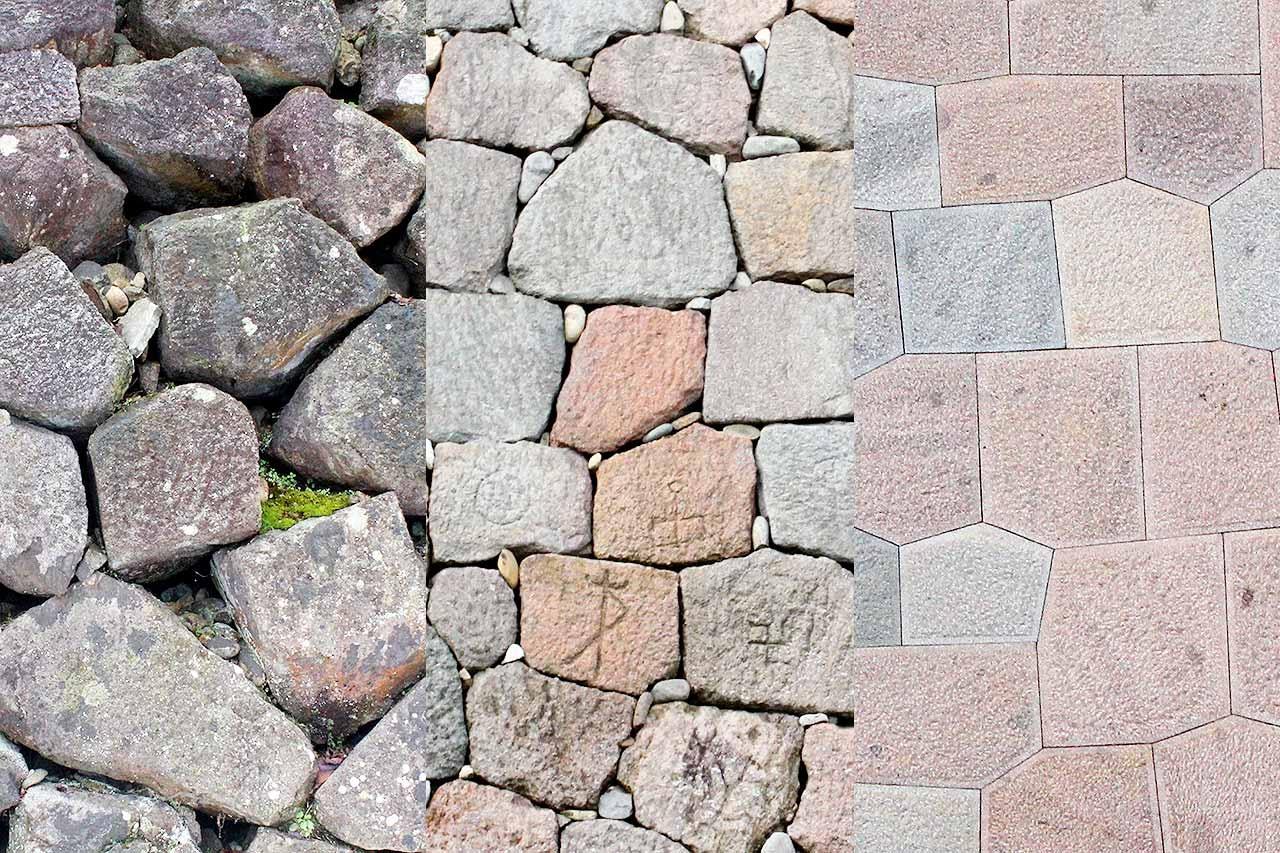 金沢城の多種多様な石垣。左から「野面積み」、「打ち込みハギ積み」、「切り込みハギ積み」