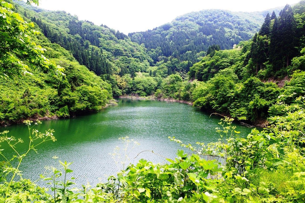 内川ダム湖から望む後谷(菊水町)