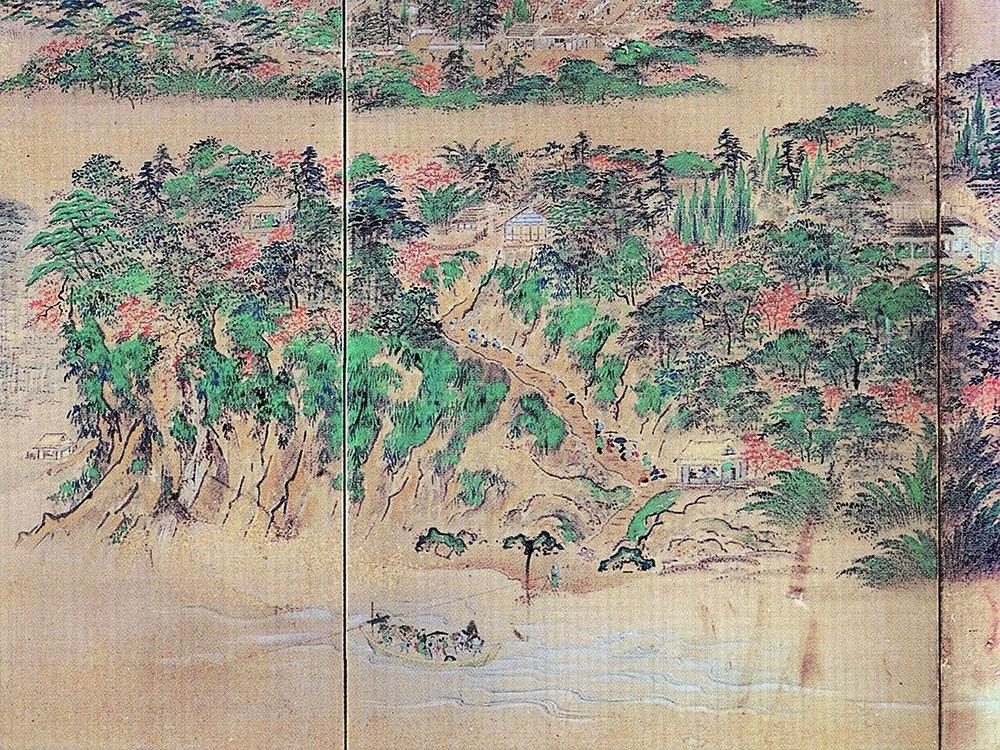 旧坂。武士や町人、日傘をさす婦人やお年寄り、にぎわう茶店、舟を渡す姿などが描かれる(『金沢城下図屏風』)