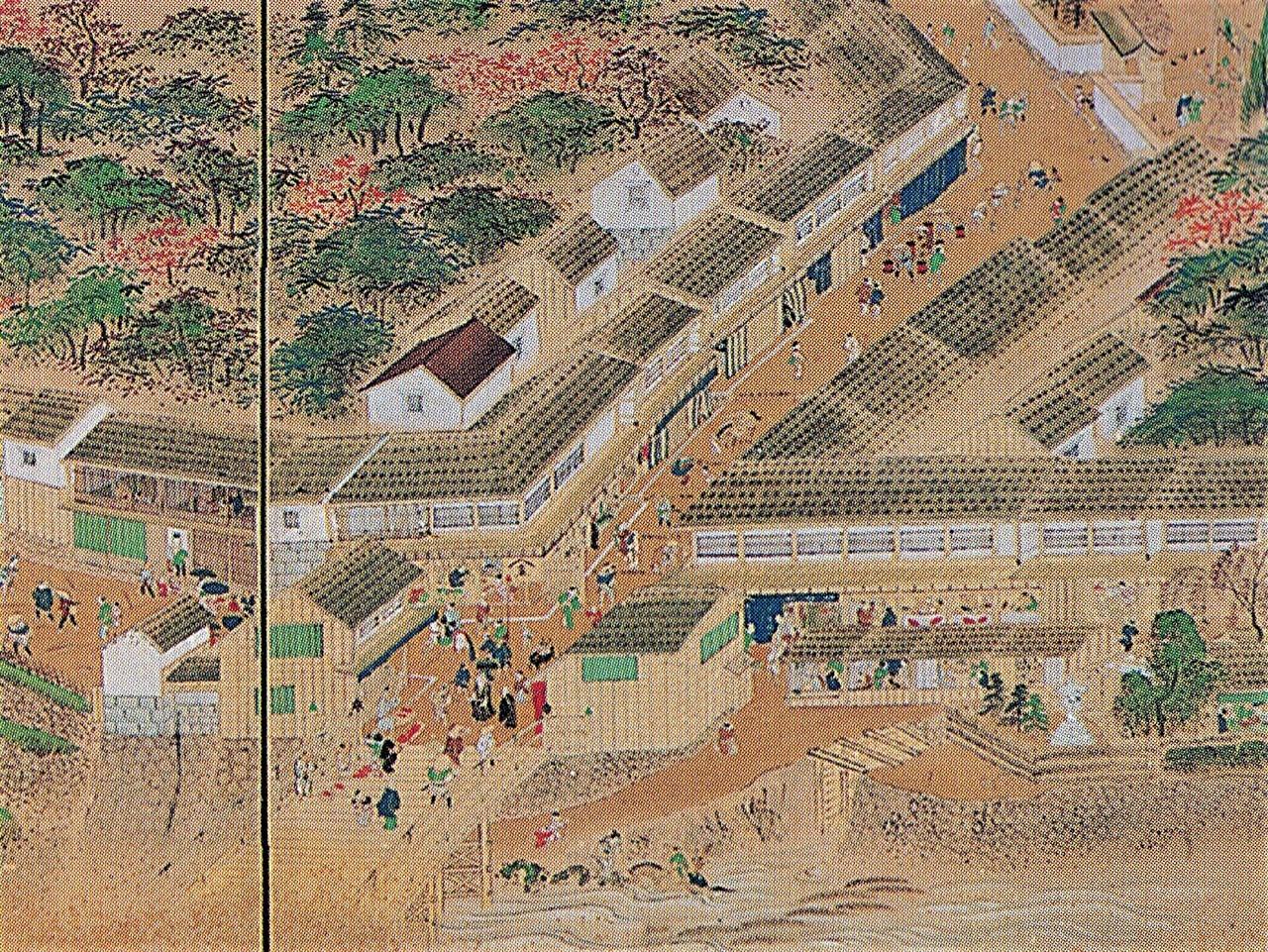 『金沢城下図屏風(犀川口町図)』(19世紀)に描かれた瓶割坂。左へ蛤坂