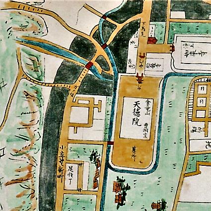 亀坂。中央左寄りに「ガメ坂」とある(加陽金府武士町細見図1734より)