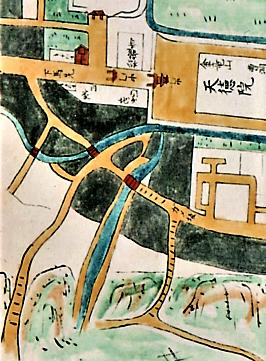 用水をはさんで隣り合う線香坂㊧と御小屋坂㊨(加陽金府武士町細見図より)