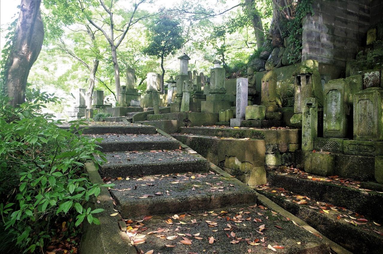 山腹に展開する光覚寺の墓地