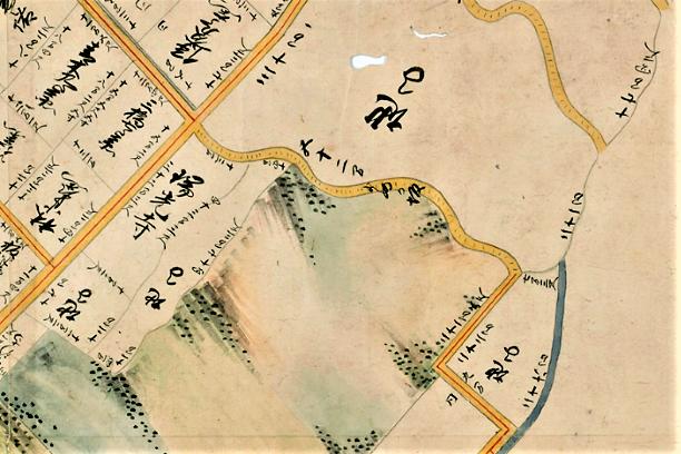 寛文七年金沢図(1667年)に描かれた嫁坂。そのころは「よめの坂」(中央)