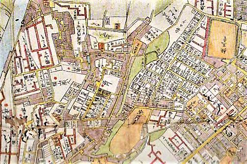 図1 男坂・女坂(中心点右上)が描かれた「安政頃金沢町絵図」