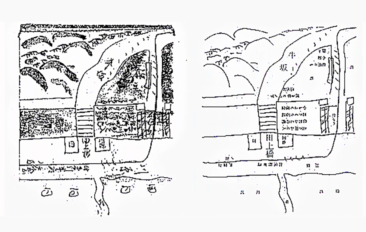 【図1】『戸室山初年号等留帳』の図㊧とその写し㊨ 「牛坂」とあるは「野坂」
