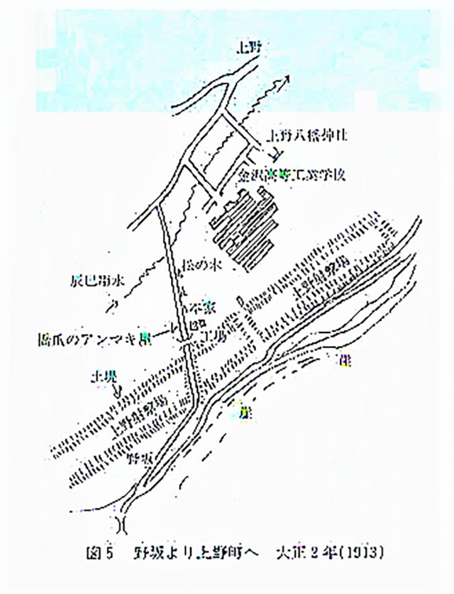 【図2】1913年(大正2)の野坂~上野周辺
