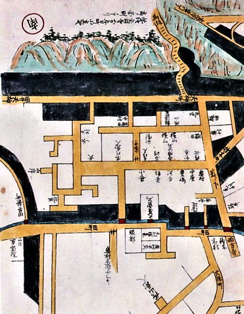 加陽金府武士町細見図1734(玉川図書館蔵)に描かれた馬坂周辺
