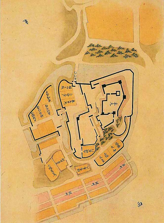 17世紀半ば以前の姿とみられる『加州金沢城図』(玉川図書館蔵)