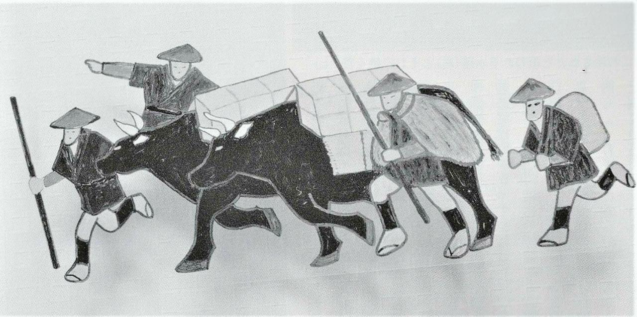 「塩硝を運ぶ牛」(堀岡他美子さん画 )