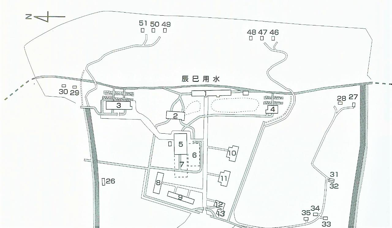 2本の坂(上部)を描いた略図(後藤家文書『土清水製薬所絵図』より)