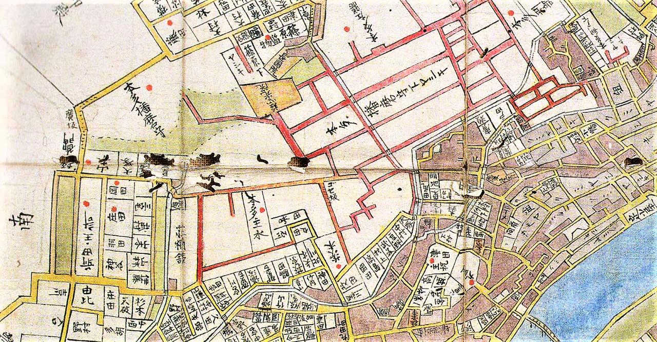 中央に「ゴセ坂」とある(『安政頃金沢町絵図』より・県立歴史博物館蔵)